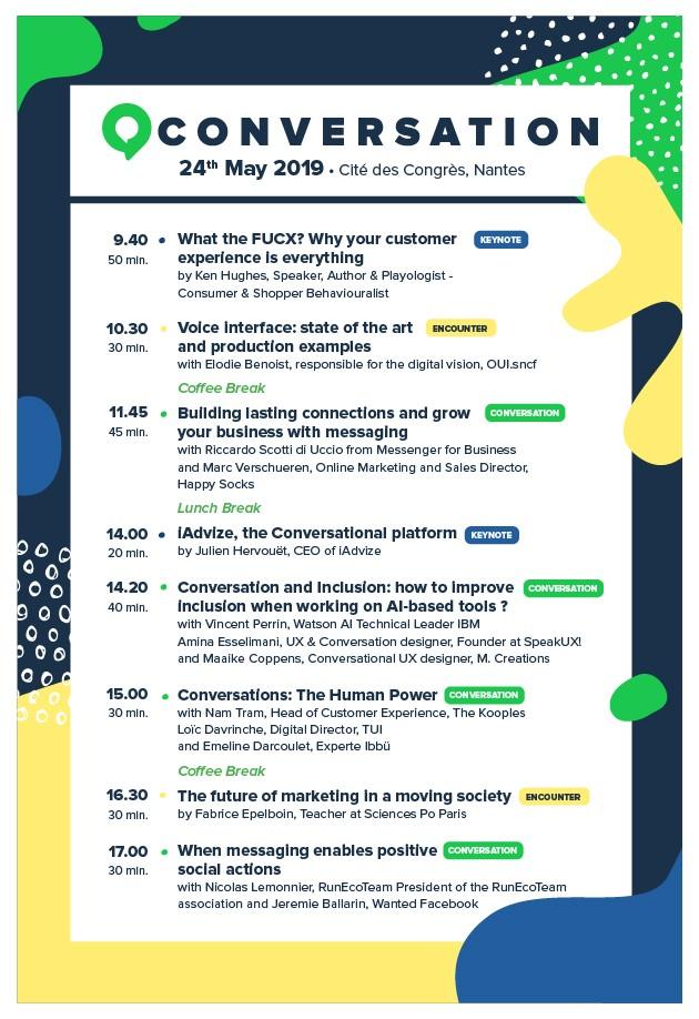 Programme de la conférence Conversation 19 à Nantes le 24 mai 2019