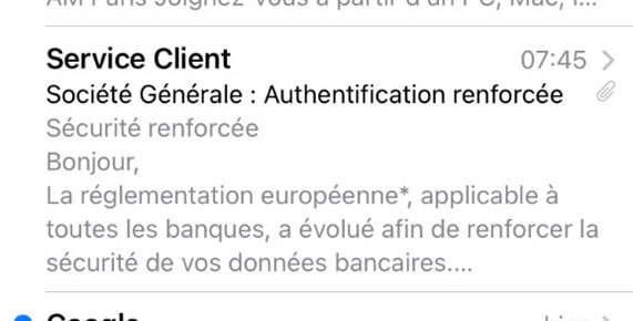Tentative de phishing des clients de la Société Générale : aperçu email smartphone