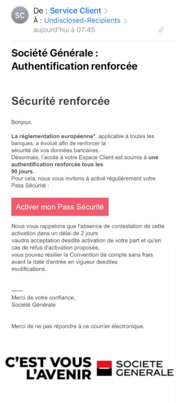 Tentative de phishing des clients de la Société Générale : email smartphone complet
