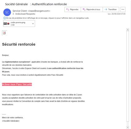 Tentative de phishing des clients de la Société Générale : aperçu dans le volet de lecture Outlook